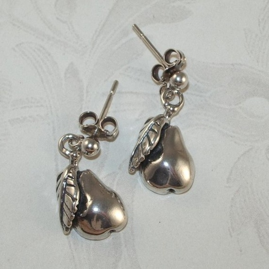 Sterling Silver Pear Earrings