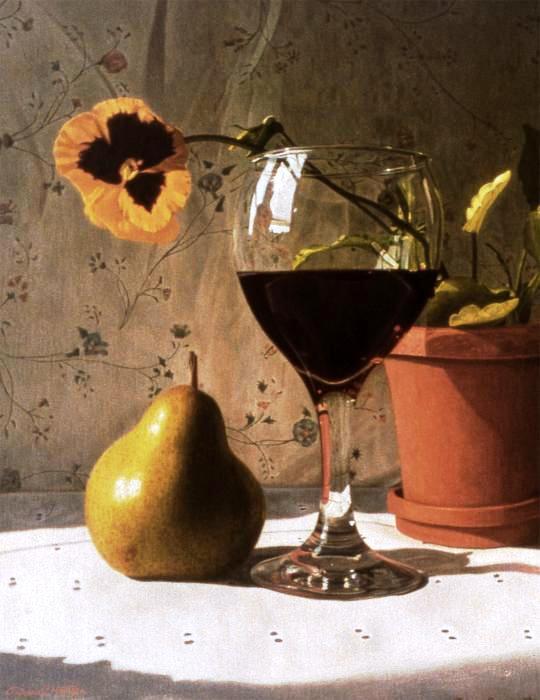 Daniel Montoya. Wine Glass, Pear And Pansy