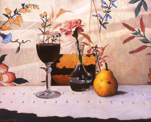 Daniel Montoya. Wineglass,  pear and pink carnation.