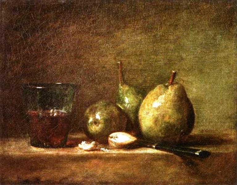 Jean-Baptiste-Simeon Chardin.  Pears. Walnuts and Glass of Wine