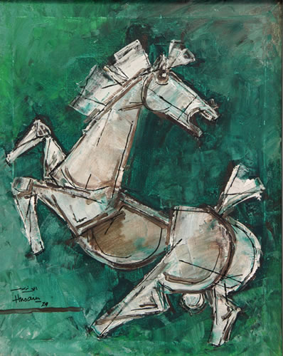Maqbool_Fida_Hussain,_Equus_I,_1979_40.1_x50cm,oil_on_canvas_
