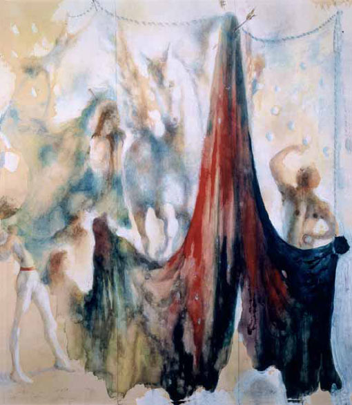 Белая лошадь и акробаты. Эскиз театрального занавеса. 1941