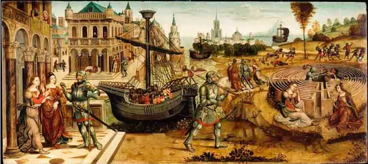 Мэтр де Cassoni Кампана, критские легенды. Тезей и Минотавр, 1500-1525