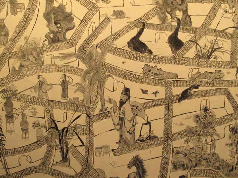 Юэ Minjun, серия картины Лабиринт