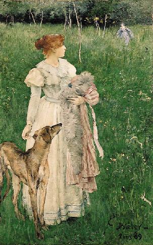 Dame mit Windhund