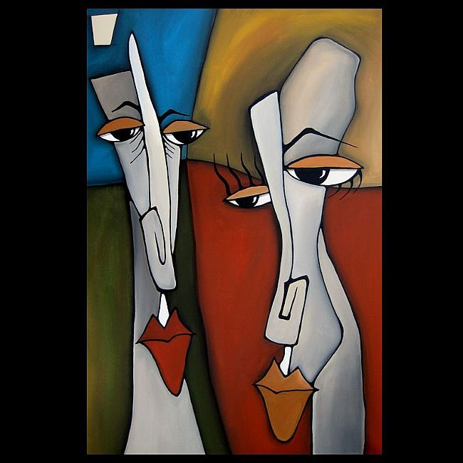Faces1183-2436-Original-Abstract-Art-Painting-The-Odd-Couple