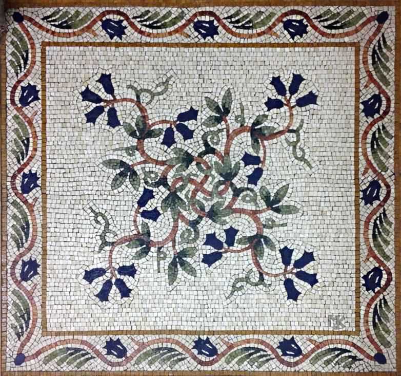 Цветочные мозаичный пол Vine