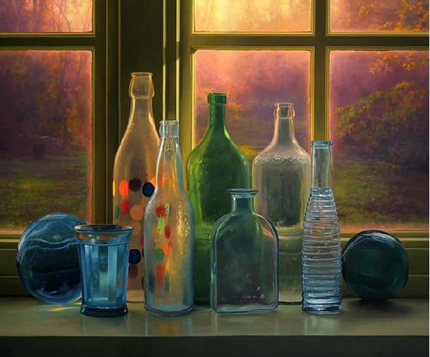 Amerikanskiy-hudozhnik-Scott-Prior.-Natyurmort-Bottles-at-Sunrise