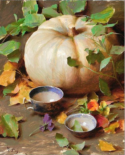 Keys-Daniel-J.-ZHivopis-maslom-natyurmort.-White-Pumpkin-with-Vines.-20h16-dyuymov