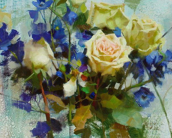 Keys-Daniel-J.-ZHivopis-maslom-natyurmort.-Roses-Delphiniums.-11h14-dyuymov