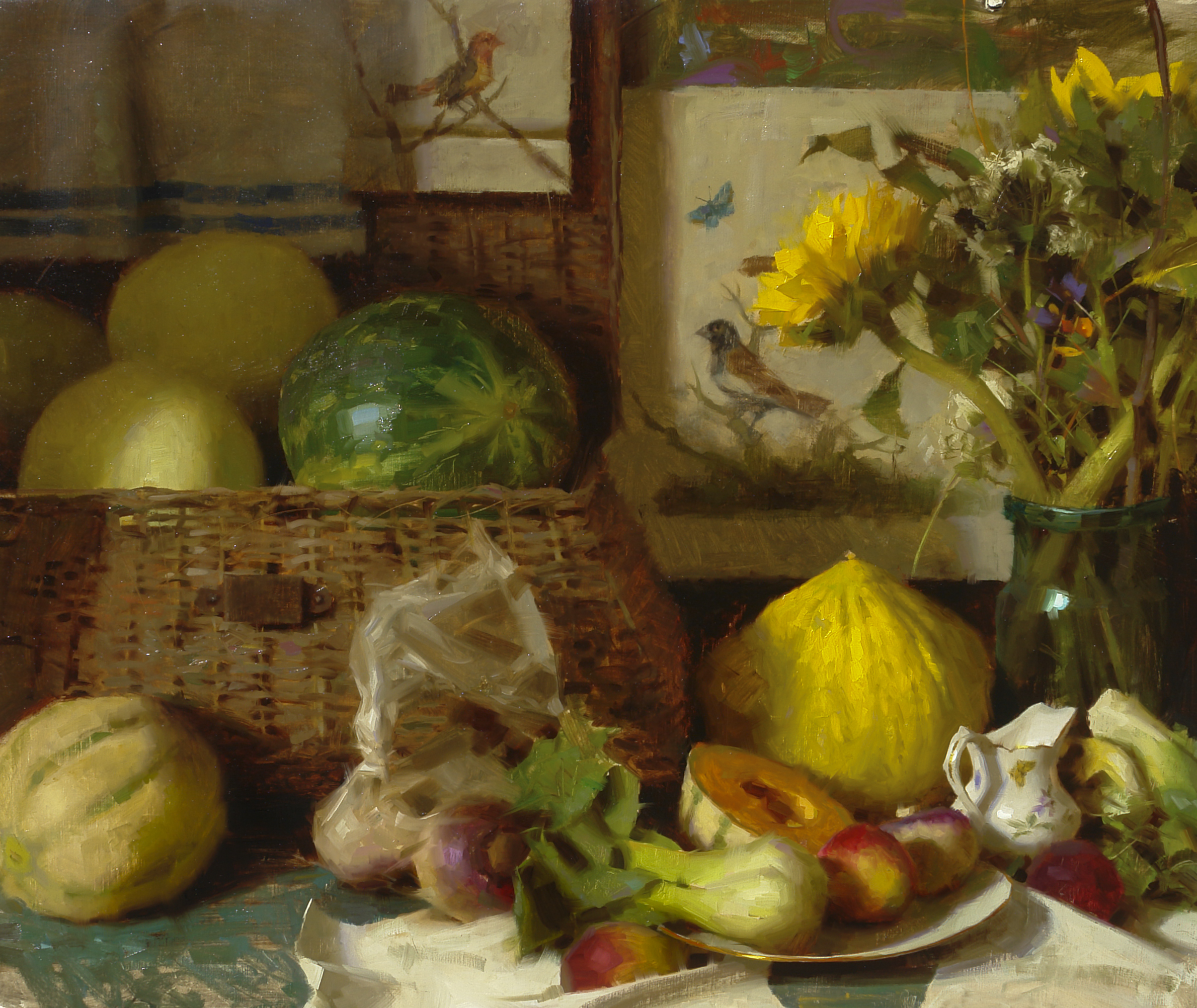 Basket-with-Summer-Melons-oil-painting-by-Daniel-Keys-Featured-Artist-for-Painted-Ladies-Great-Alaskan-Plein-Air-Retreat