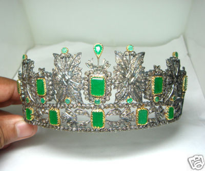 Antique-Reproduction-59.27ct-Diamond-Emerald-Tiara