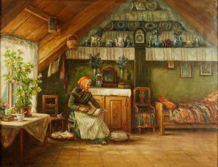 1888463_severin_nilson_1846-1918krestyanskii_dom_s_jenschinoi_allmogeinteri246r_med_kardande_kvinna