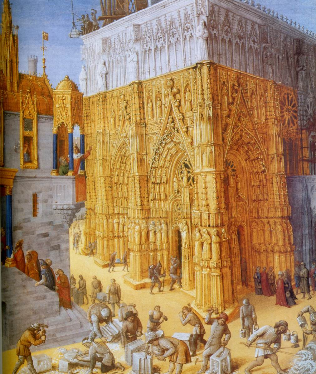 Construction d'une cathedrale - par Jean Fouquet [1470]