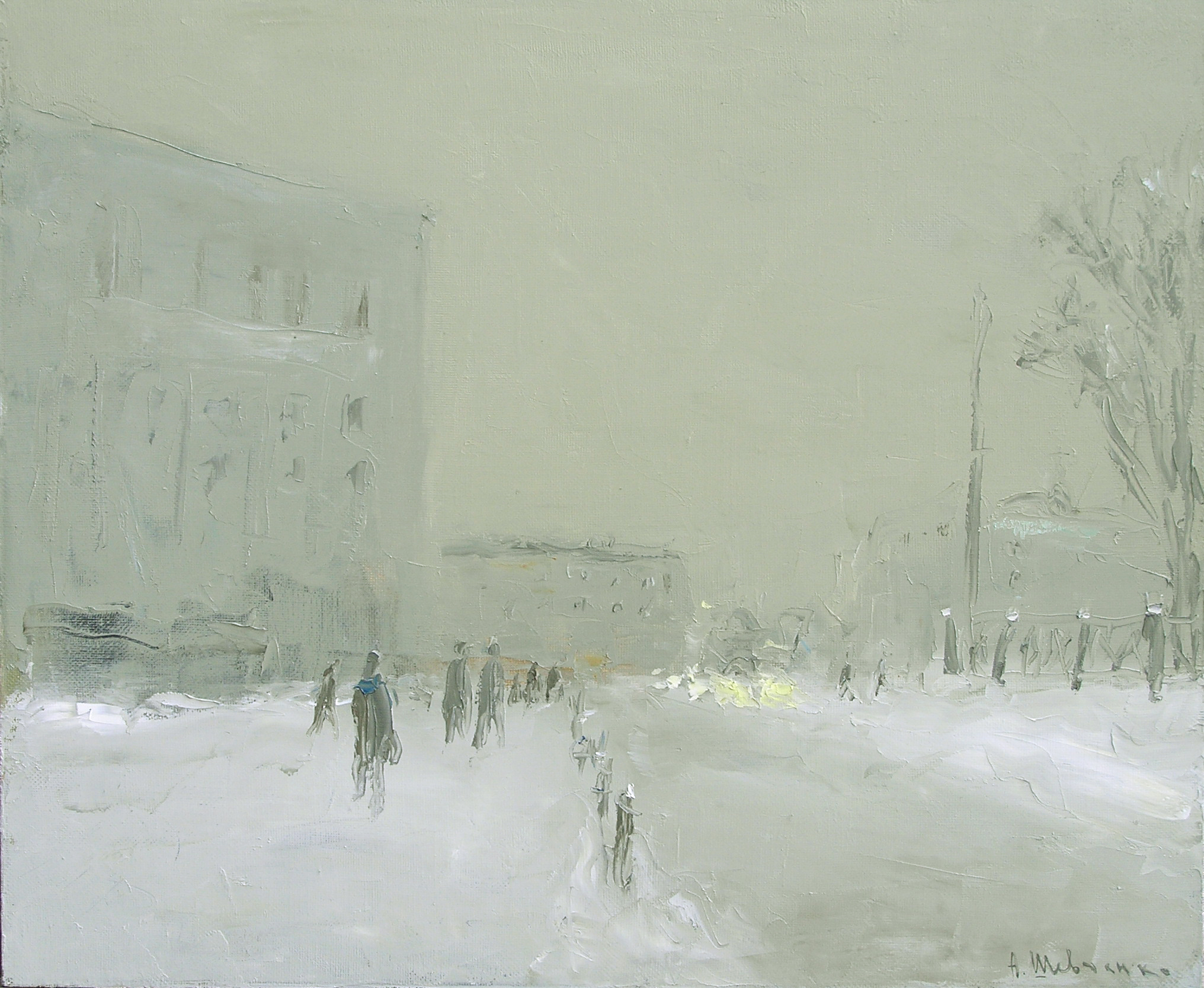 Зима в Москве. Сумерки, 2005, 50х60, х.м.