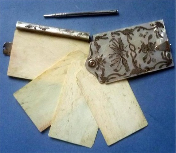 1800's FRENCH CARNET DE BAL DANSE NOTE BOOK mother of pearl sterling silver 2