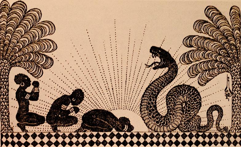 11 - Tres negras postrandose ante una serpiente - 1921- ilustración para la Carpa