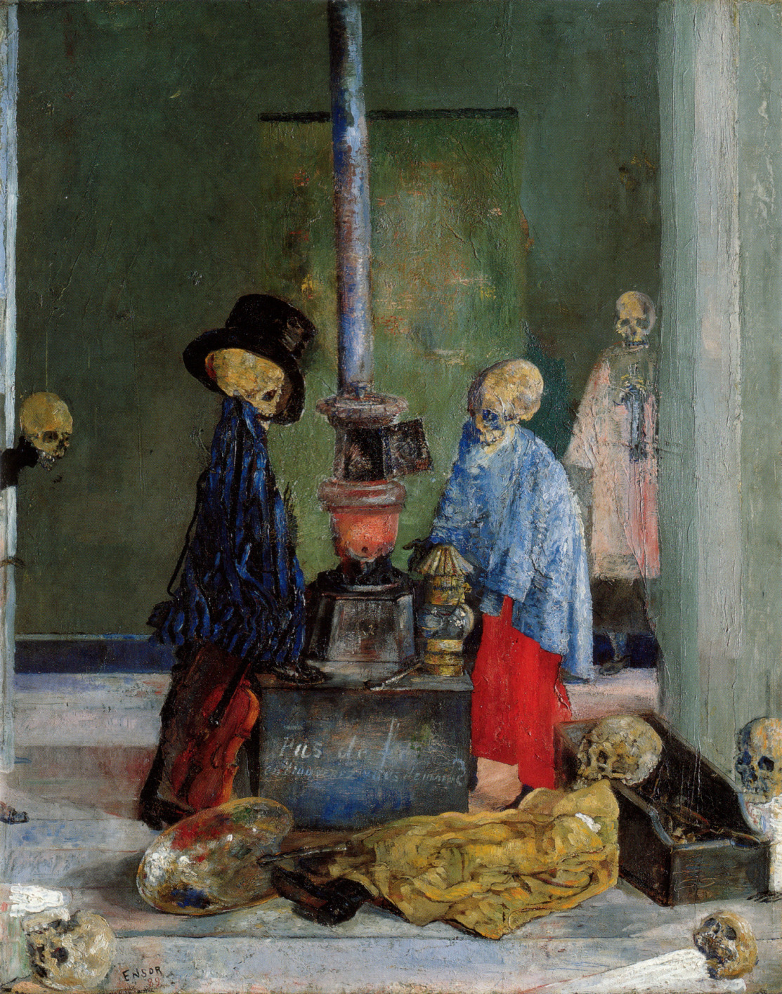 Живопись_James-Ensor_Skeletons-Trying-to-Warm-Themselves.-1889.jpg