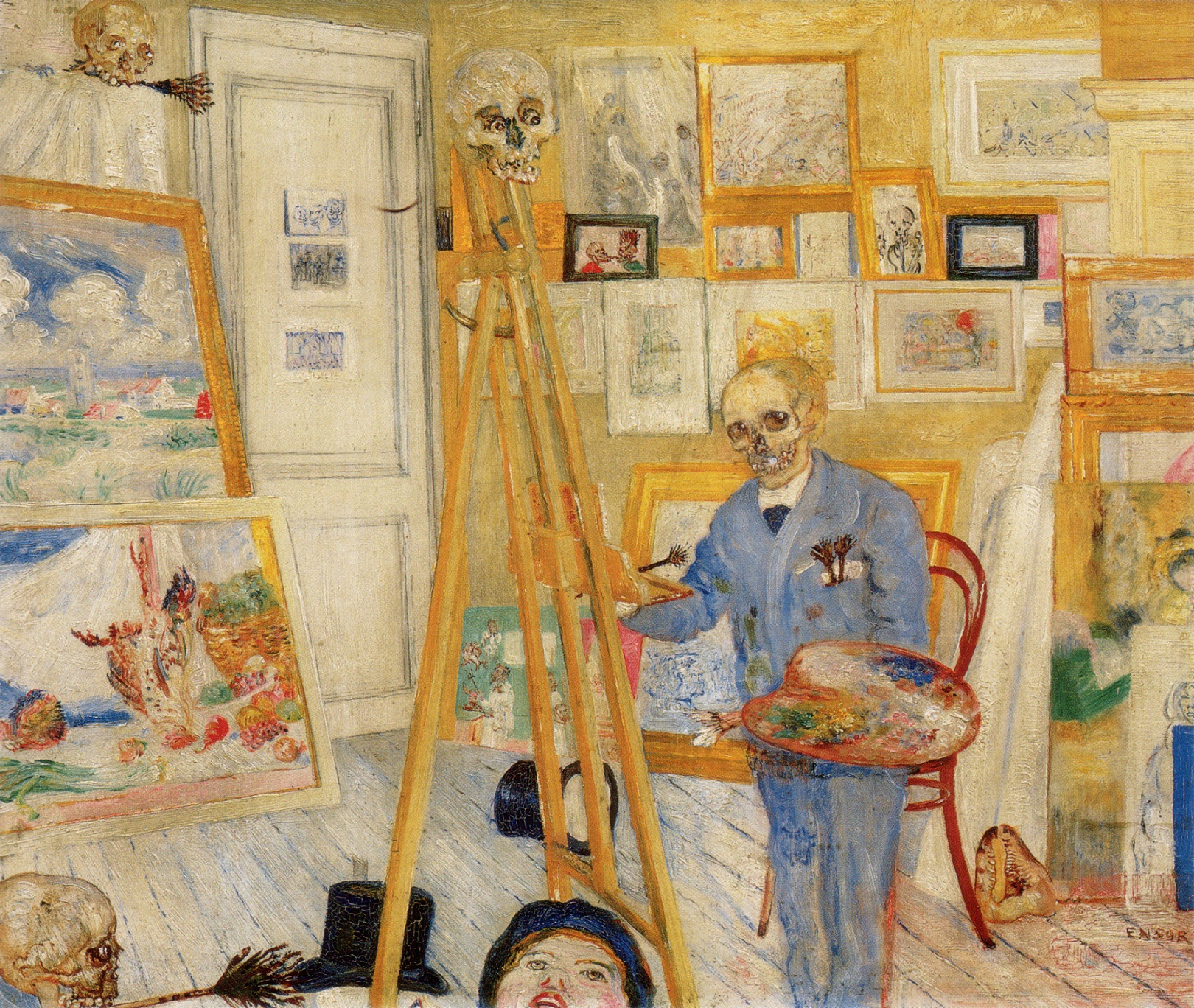 Живопись_James-Ensor_The-Skeleton-Painter.-1896 (1).jpg