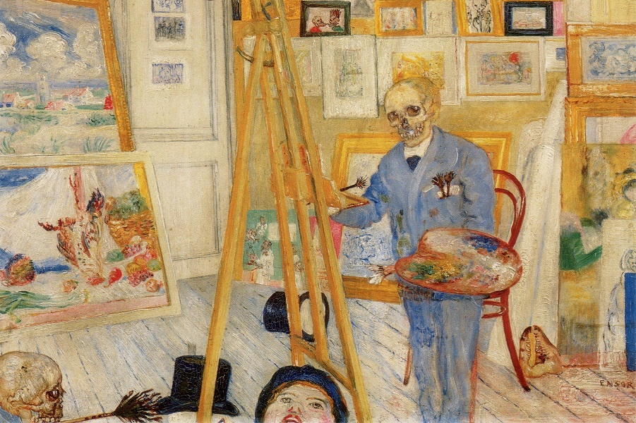 Живопись_James-Ensor_The-Skeleton-Painter.-1896.jpg