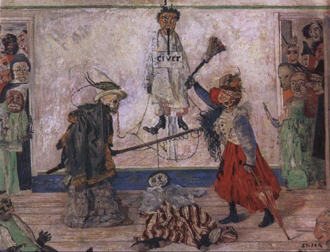 Живопись_James-Ensor_Skeletons-Fighting-over-a-Hanged-Man.1891.png