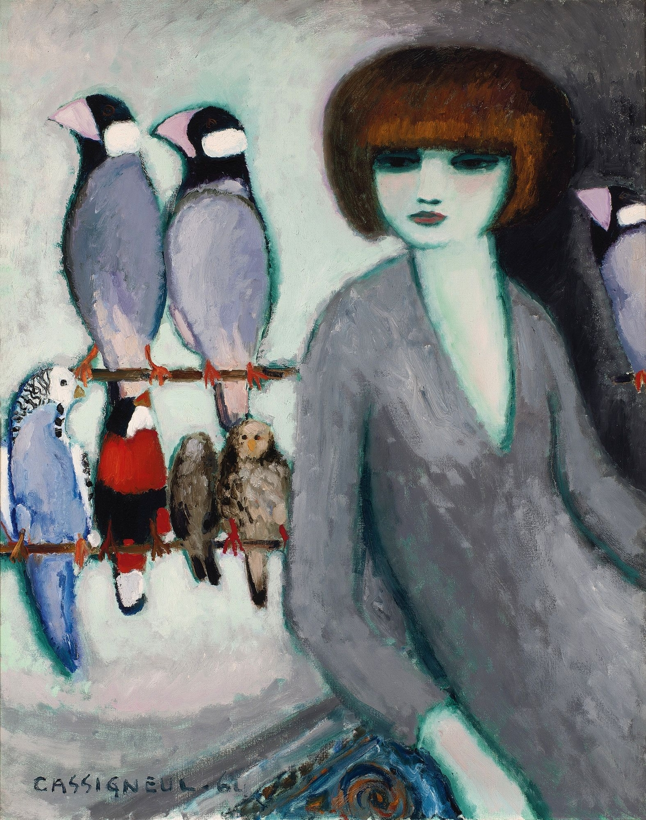 1_1962_Дама с попугаями (Elegante Aux Perroquets)_92.2 х 73_х.,м._Частное собрание.jpg