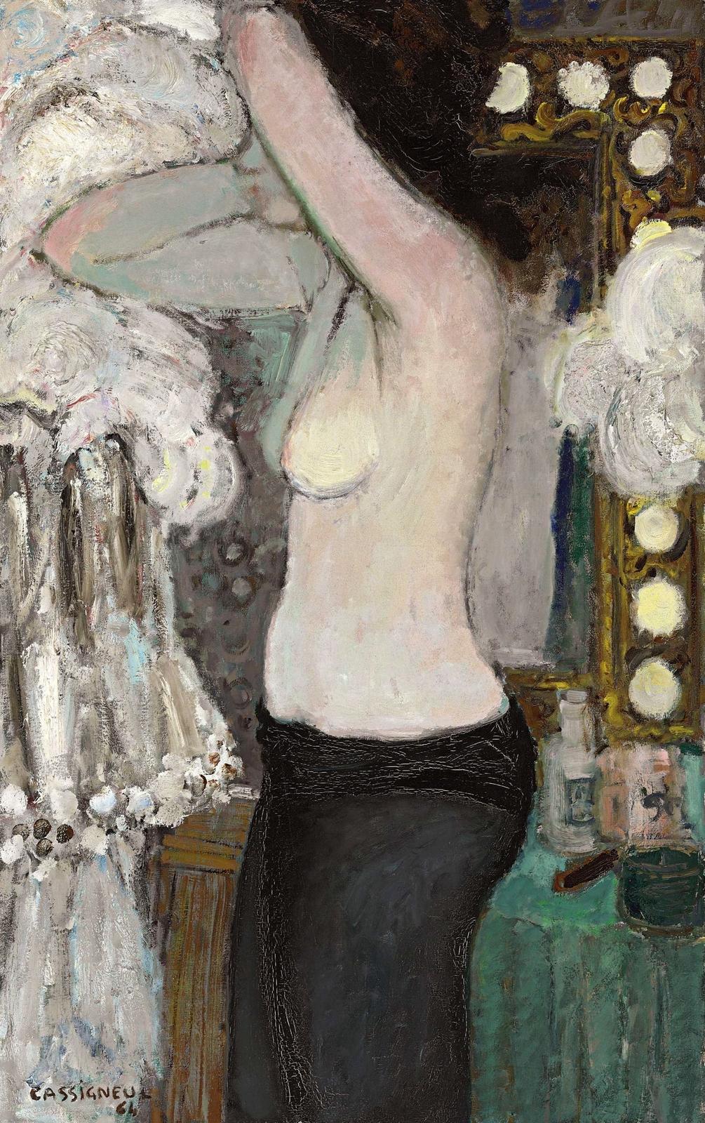 1964_Женщина в профиль (Femme de profil se coiffant)_160 x 73_х.,м._Частное собрание.jpg