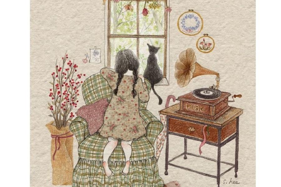 Старый патефон, девочка и кошка
