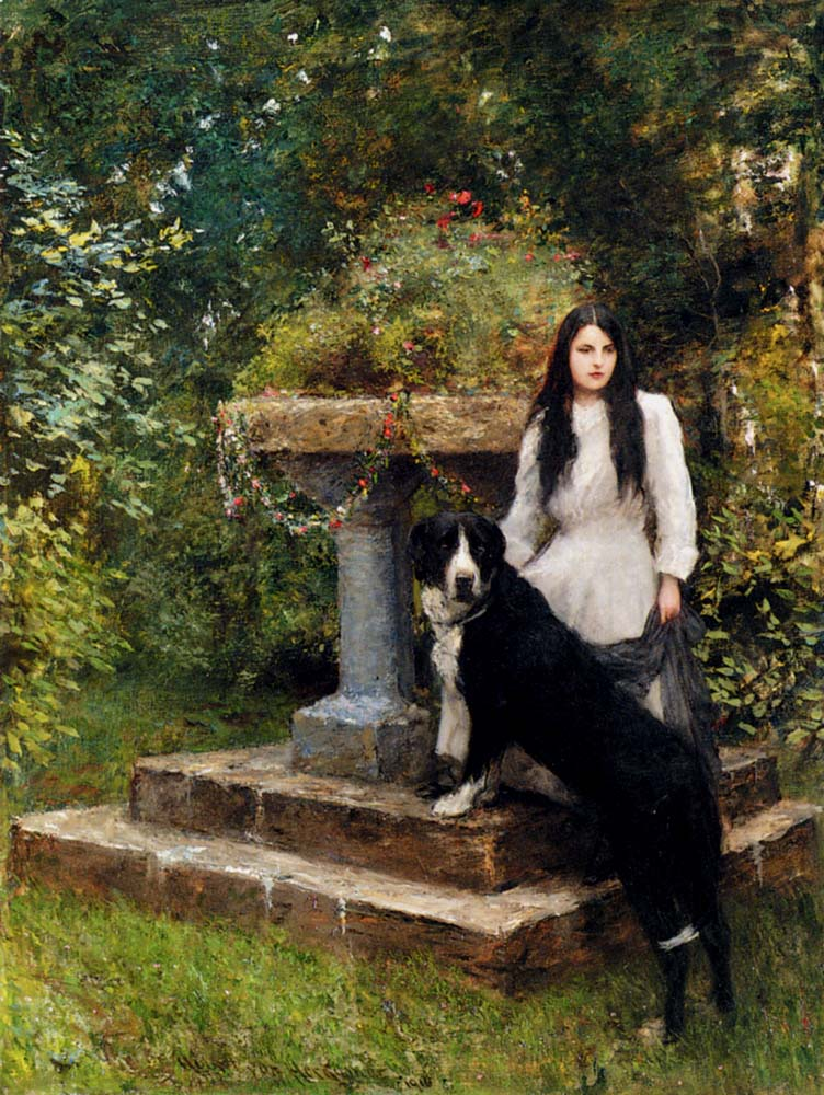 Hubert von Herkomer - A Young Girl and Her Dog 1910.jpg