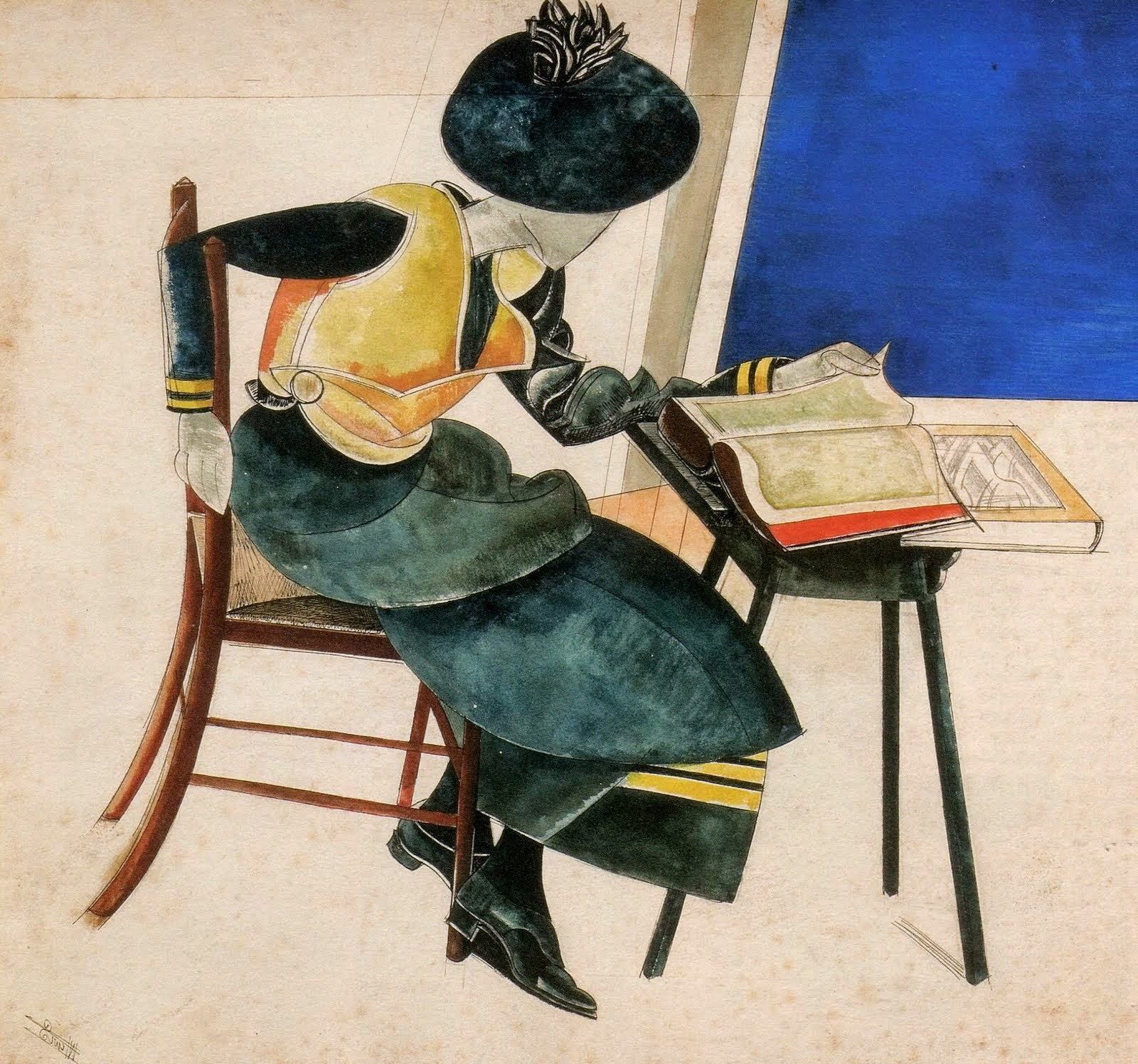 Wyndham Lewis Woman in blue, 1921.jpg