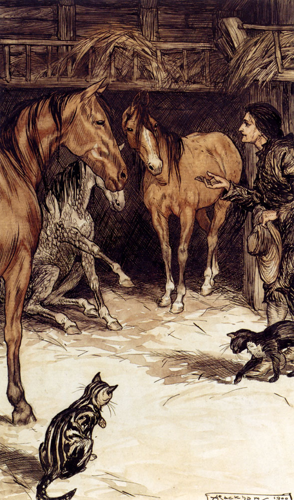 Rackham_Arthur_Gulliver_Visiting_With_The_Houyhnhnms