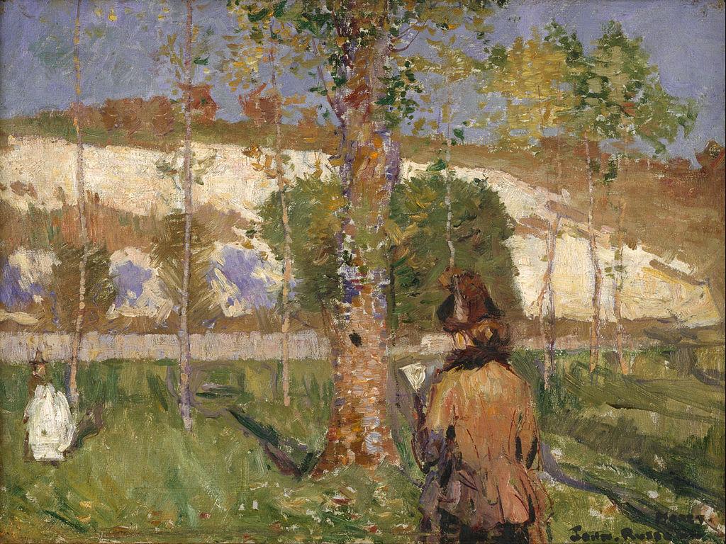 Живопись_Джон-Питер-Рассел_Madame-Sisley-on-the-Banks-of-the-Loing-at-Moret-1887.jpg