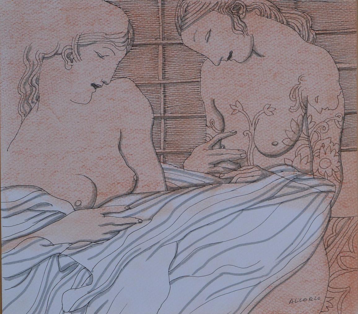 Alcorlo-Manuel-Dos-jóvenes-amigas-dibujo-tinta-y-acuarela-papel-1850x21-cmsa.JPG