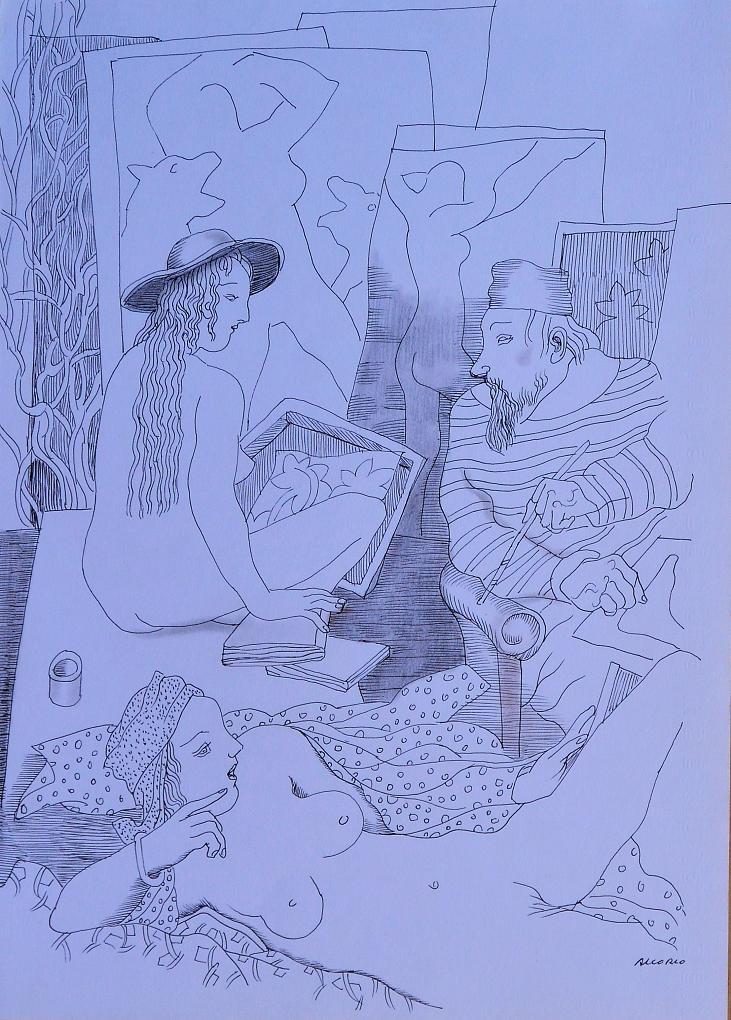 Alcorlo-Manuel-El-pintor-y-las-modelos-dibujo-tinta-papel-35x25-cmsa.JPG