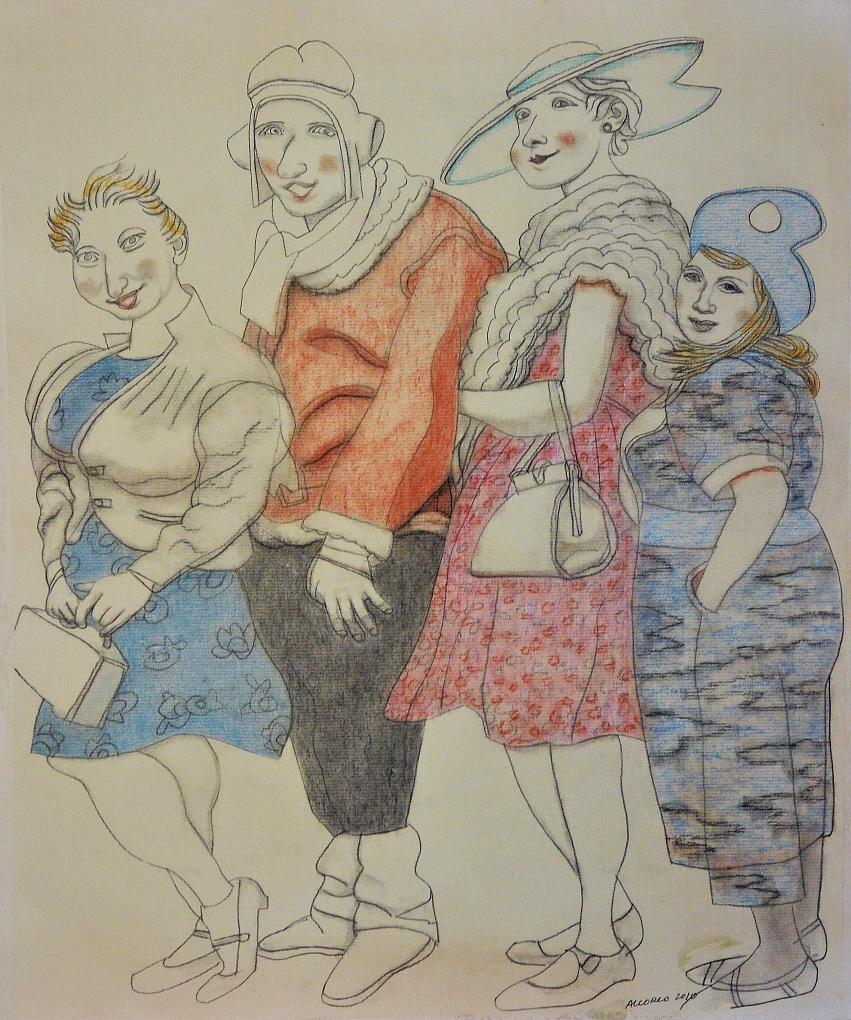 Alcorlo-Manuel-Las-four-sisters-dibujo-lápiz-y-acuarela-papel-enmarcado-dibujo-50x41-cms.-y-marco-73x59-cms.-12.JPG