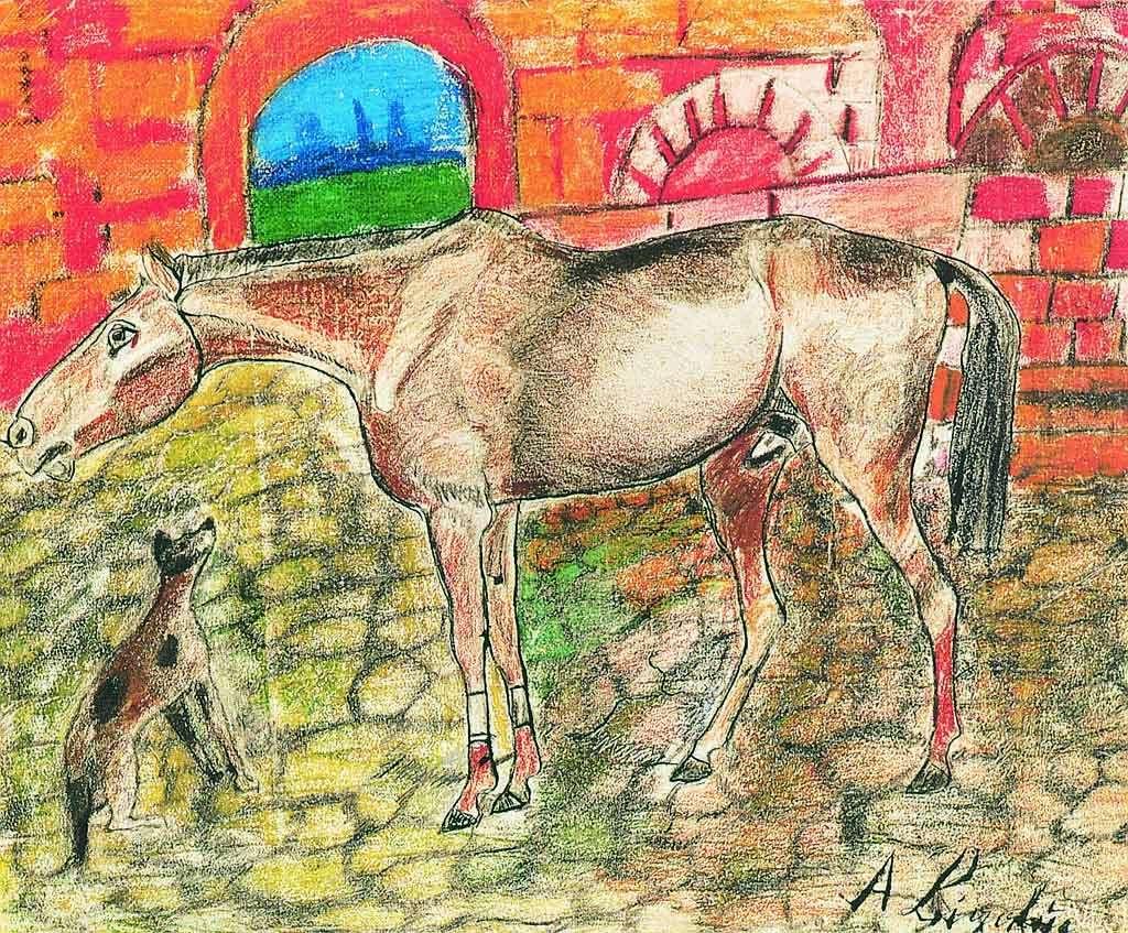 cortile-con-cavallo-e-cane-1960-1961-pastello-a-cera.jpg