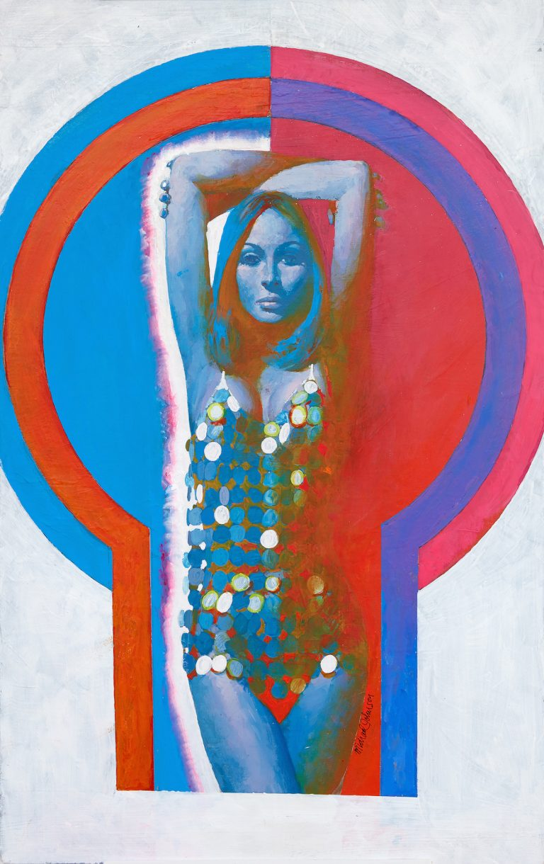 Michael-Johnson_Woman-in-Silver-Disc-Swimsuit_1967_-acrylic-on-board_copyright-Lever-Gallery_AW-768x1220.jpg