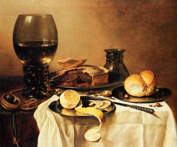 Claesz_Pieter_Breakfast_Still_Life_With_Roemer_Meat_Pie_Lemon_And_Bread