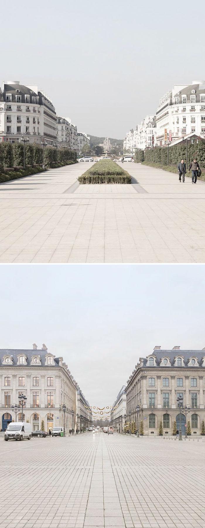 Парижский синдром Китай, копию, расстоянии, жителей, жилой, комплекс, пригороде, Ханчжоу, Строительство, города, началось, первоначально, рассчитано, размещение, около, выглядят, «Памятники, места, одинаково, совершенно