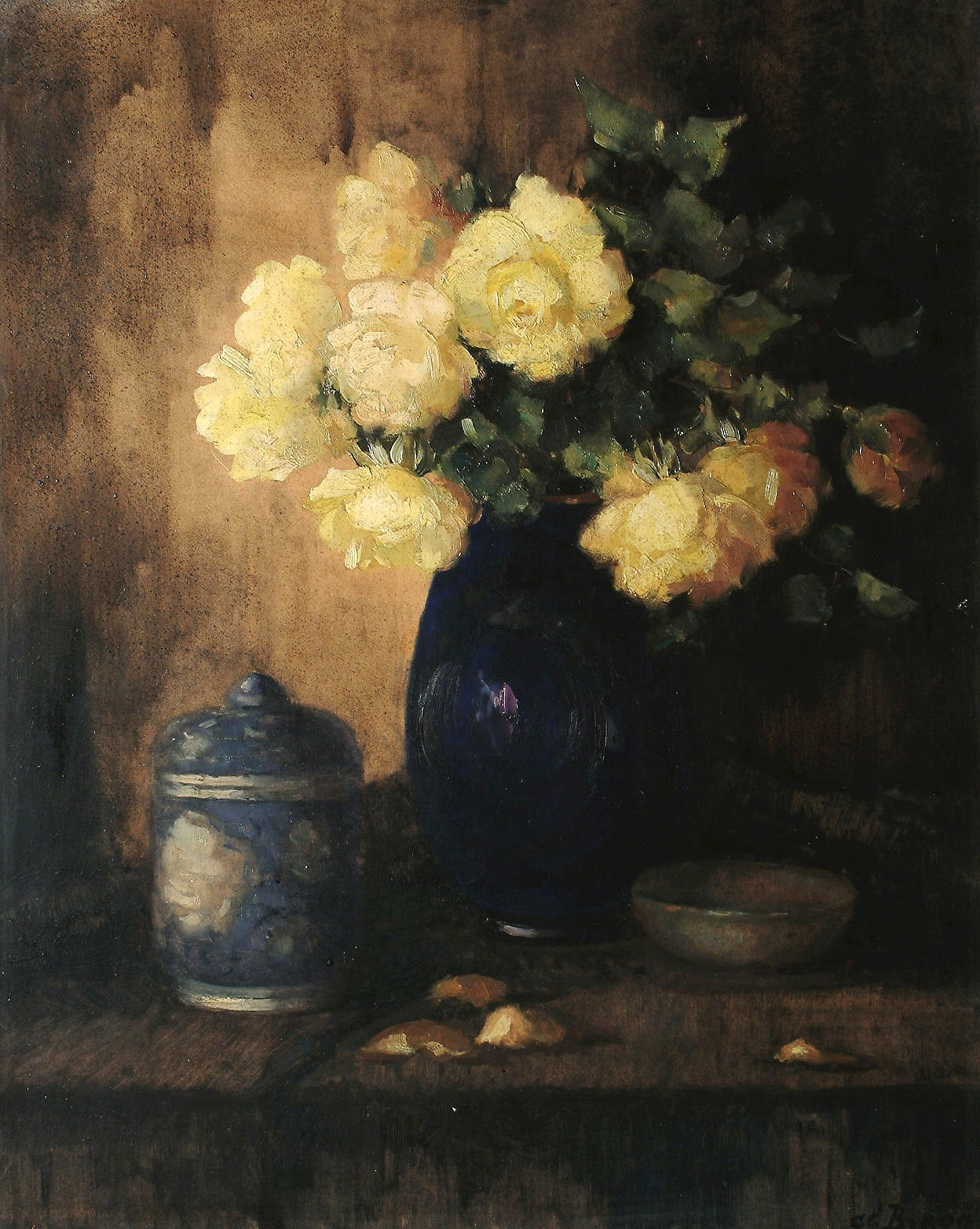 Still life of yellow roses in a blue vase)_66 x 92.jpg