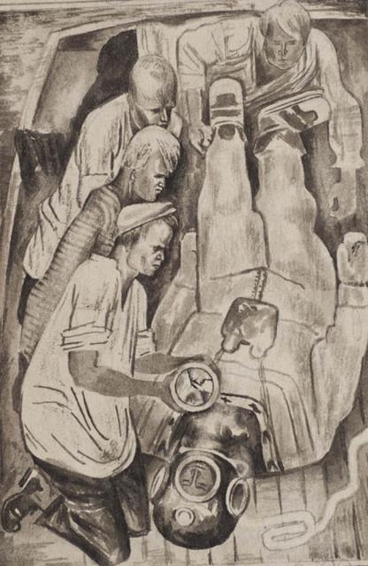 _раздевают. Иллюстрация к книге А.Н. Самохвалова, «Три случая под водой». 1927. Бумага, акварель(черная).ТОКГ..preview.jpg