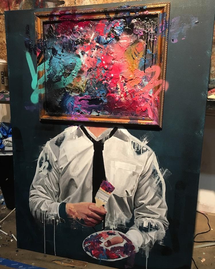 Sage Barnes - улица и холст Барнс, против, искусства, включая, обычную, акриловую, краску, искусственные, средами, штукатурку, пенопласт, Реально, работах, много, контрастов, Чернобелый, цветы, цвета, работает, инвестиционным