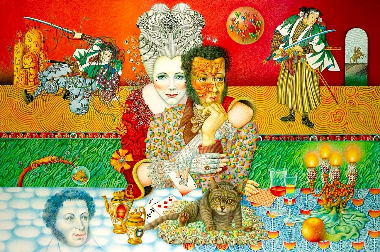 Пушкин и Пиковая дама_картон, цветные карандаши_Частное собрание.jpg