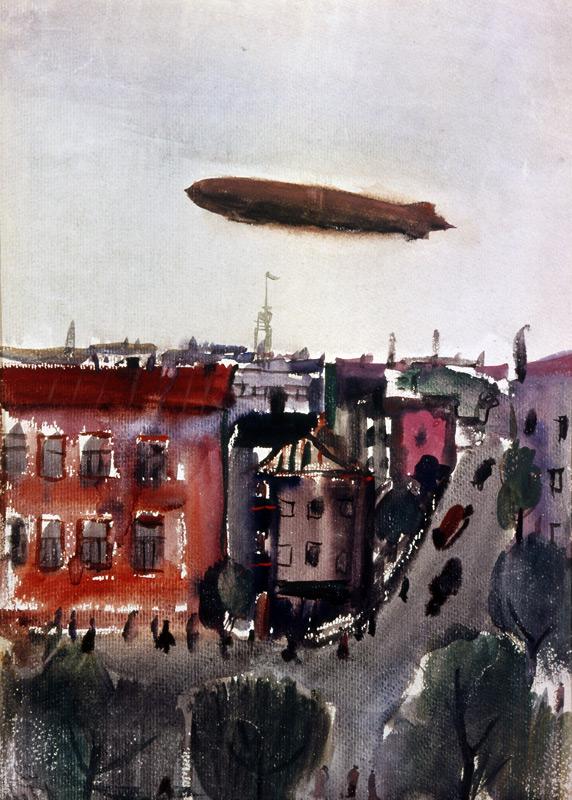 Александр Лабас. Дирижабль над городом. 1932