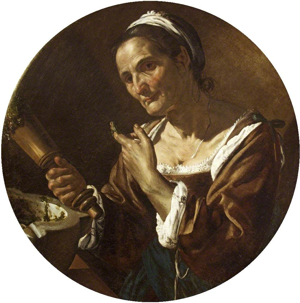 An Old Woman with a Pestle and Mortar