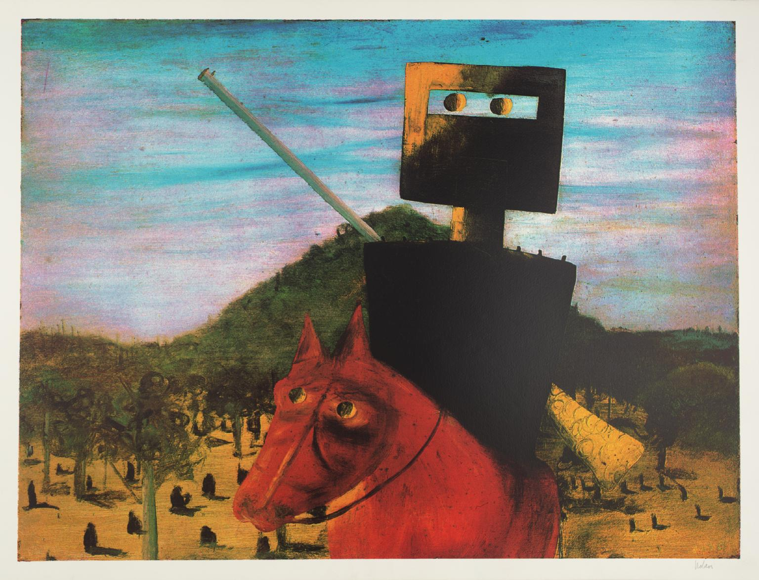 Kelly and Red Horse 1972 by Sir Sidney Nolan 1917-1992
