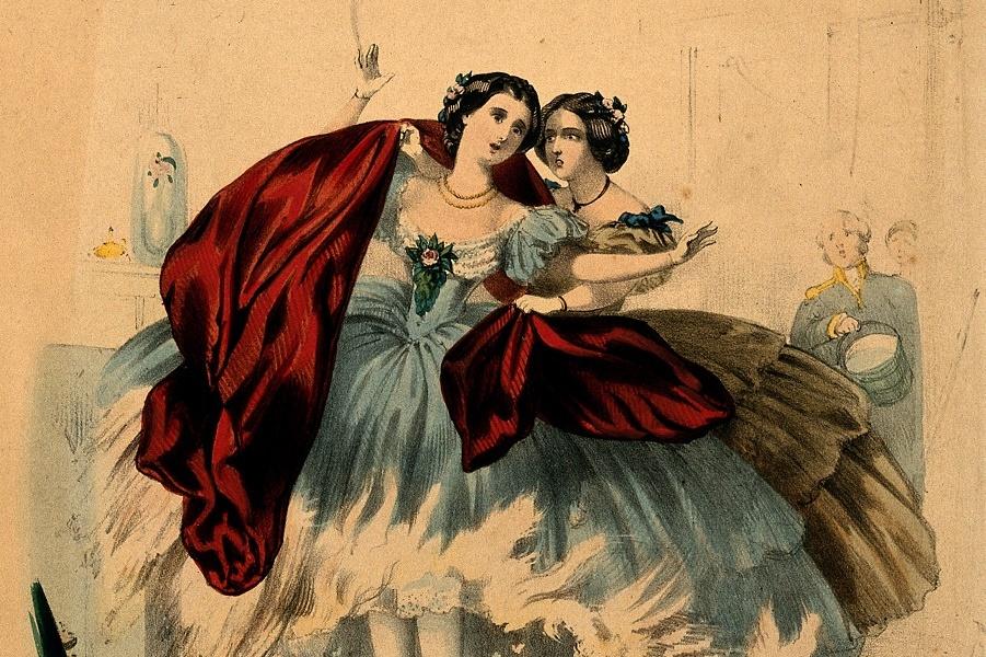 V0048935 Women wearing crinolines set on fire, ca. 1860, lithograph