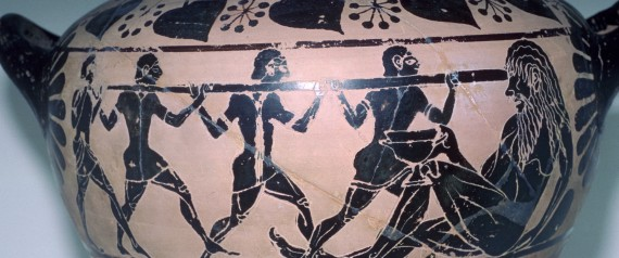 Vase-painting of the story of the Cyclops from the 'Odyssey'.
