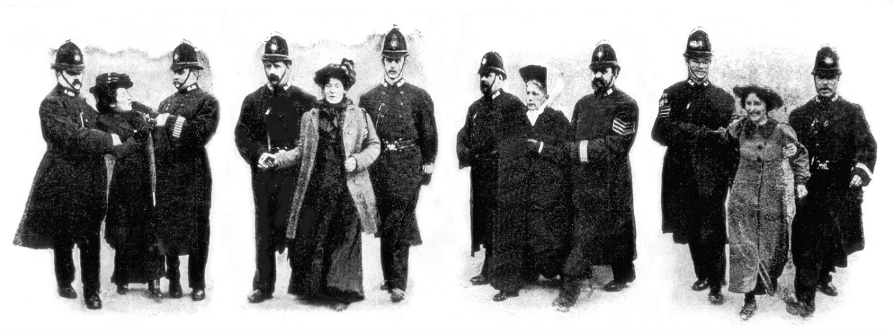 Demonstration of suffragettes in London, arrest of feminists (1907)