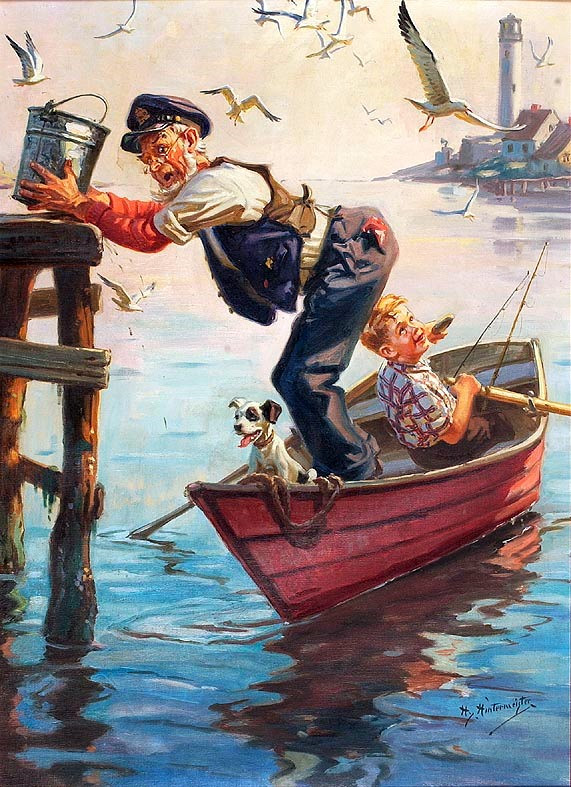 an-old-man-a-boy-and-his-dog-in-a-rowboat